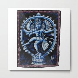 Hindu Lord Shiva Dance Nataraja Batik Wall Hanging Metal Print