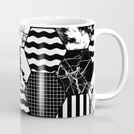 Hexual - Black and white, honeycomb, hexagon pattern, stripes, paint splats, grid and marble Coffee Mug