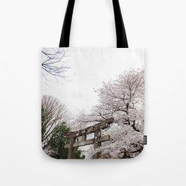 Shrine amongst cherry blossoms in Ueno Park Tote Bag