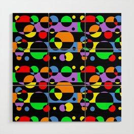 Rainbow Geometric Multicolored Modern Circle Pattern Wood Wall Art