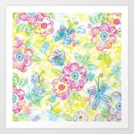 Watercolor spring pattern Art Print