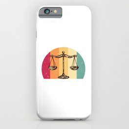Scales Of Justice Lawyer Retro Gift Idea iPhone Case