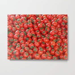 Red Cherry Tomatoes Pattern Metal Print