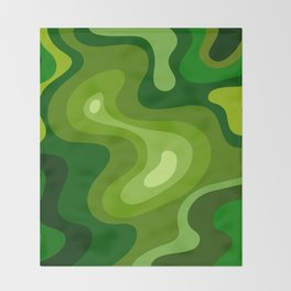 Multi Color Green Liquid Abstract Design Throw Blanket