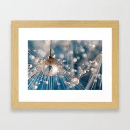 Dandelion Blue Sparkling Drops Framed Art Print