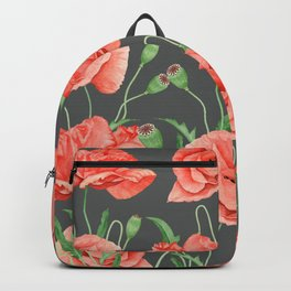 Red Poppies Pattern Grey Backpack
