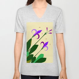 Lavenders and Violet Colored Lilies Unisex V-Neck
