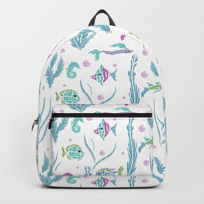 Sea , fish , seaweed , baby pattern . 2 Backpack