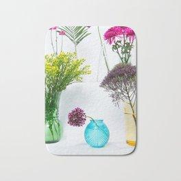Flowers in vases still life Bath Mat