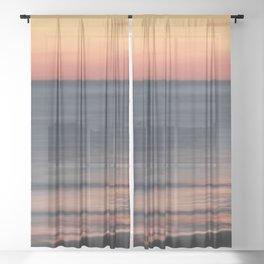 Fiery Sunset Over Galveston Beach Texas Sheer Curtain