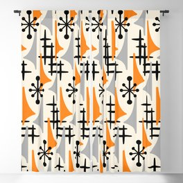 Mid Century Modern Atomic Wing Composition Orange & Gray Blackout Curtain