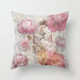 The Floral Lady Throw Pillow