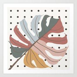 Colorful Monstera Leaf Art Print