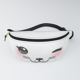 Kawaii funny cat with pink cheeks and winking eyes on white background Fanny Pack