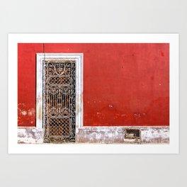 Rustic Elegance - Elaborate Door And Red Walls - Mexico Art Print