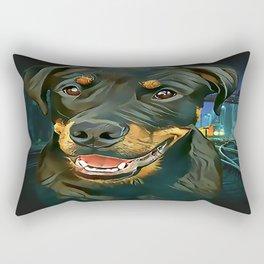 Rottweiler Pup - Waiting for the Train Rectangular Pillow