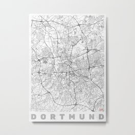 Dortmund Map Line Metal Print