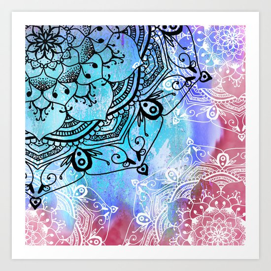 Bohemian Secret Blue & Pink Mandala Design Art Print
