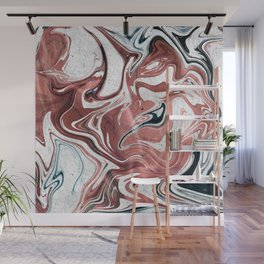 Liquid Rose Gold and Marble Wall Mural