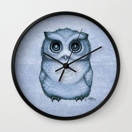 """""""The Little Owl"""" by Amber Marine ~ (Blueberry Version) Graphite & Ink Illustration, (Copyright 2016) Wall Clock"""