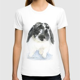 Black and White Bunny Rabbit Watercolor T-shirt