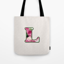 Letter L Rose Monogram Tote Bag