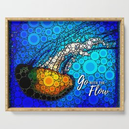 Ocean jellyfish photo bubble art | Go with the flow Serving Tray