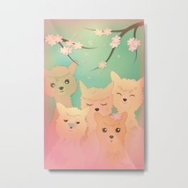 Alpaca Family II - Mint Green Spring Cherry Blossom Background Metal Print