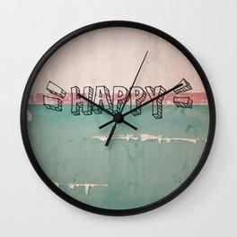 happy on a wall Wall Clock