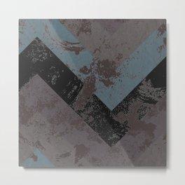 Abstract Zig Zag Soft Mauve, Blue and Black Metal Print