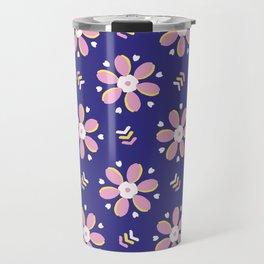 Retro bold floral daisies seamless pattern. Travel Mug