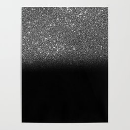 Black & Silver Glitter Ombre Poster