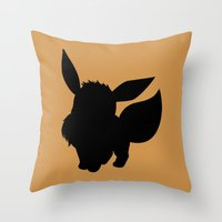 eevee Throw Pillows featuring Eevee Silhouette  by Jessica Wray