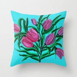 Summery blue tulips Throw Pillow