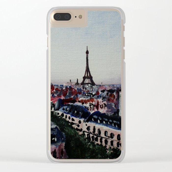 Paris Eiffel Tower Acrylics On Canvas Board Clear iPhone Case