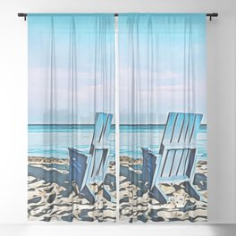 Join Me On The Beach, Won't You? Sheer Curtain