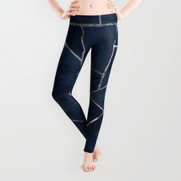 Midnight Navy Blue Ink Silver Geometric Glam #1 #geo #decor #art #society6 Leggings