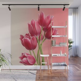 Beautiful Pink Tulips & Soft Background Wall Mural