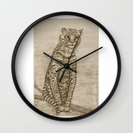 Ocelot Watching, by Ave Hurley Wall Clock