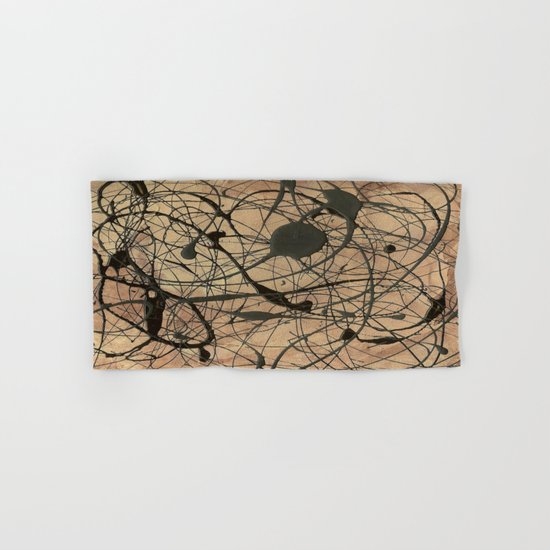 Pollock Inspired Abstract Black On Beige Hand & Bath Towel
