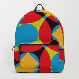 Very colorful circles, squares, intersections, geometrical fantasy. Backpack
