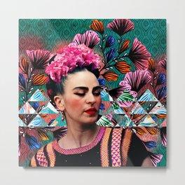 Flowery Frida Metal Print
