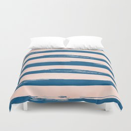 Trendy Stripes - Sweet Peach Coral on Saltwater Taffy Teal Duvet Cover