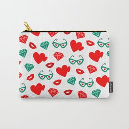 Valentine's Day Red Hearts & Kisses Pattern Carry-All Pouch