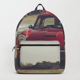 Triumph Spitfire by Mediterranean sea with ship, fine art photo, british car, sports car phorography Backpack
