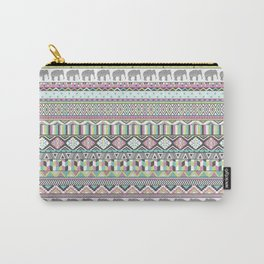 Tribal Geometric Elephant Pattern in pink, teal, and green Carry-All Pouch
