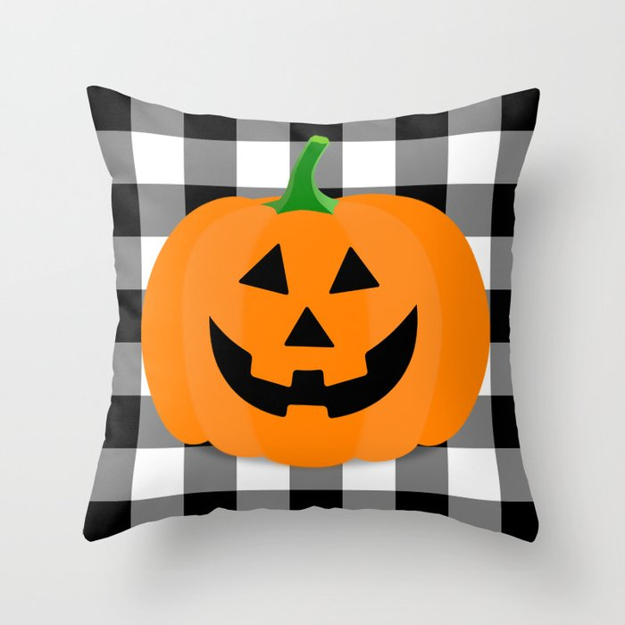 Halloween Jack O Lantern Buffalo Check Throw Pillow By