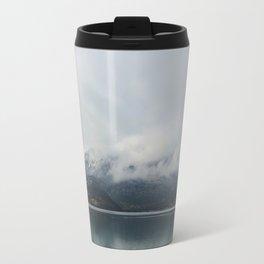 Barrier Lake in the Fog Travel Mug
