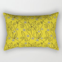 Floral Abstract Design Yellow Meadow Rectangular Pillow
