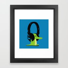 Le crocodile mélomane (blue) Framed Art Print
